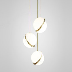 Crescent Chandelier 3 by Lee Broоm Gold