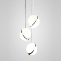 Crescent Chandelier 3 by Lee Broоm Chrome