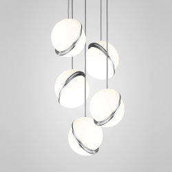 Crescent Chandelier 5 by Lee Broоm Chrome